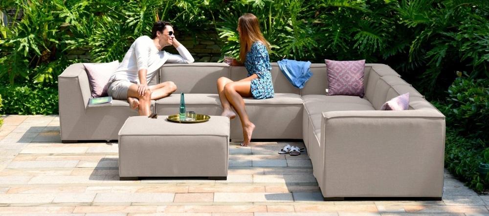 Maze Lounge Outdoor Apollo Taupe Fabric Large Corner Sofa Group