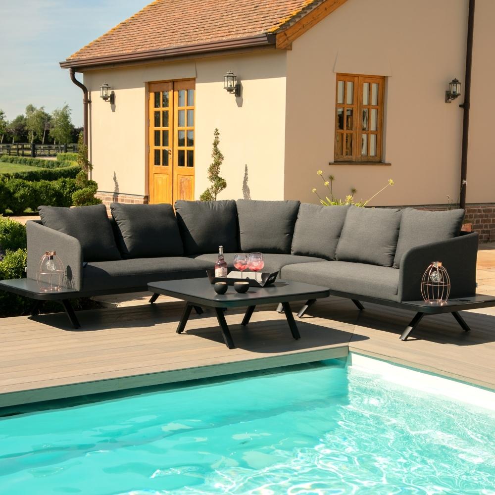 Maze Lounge Outdoor Cove Charcoal Fabric Corner Sofa Group