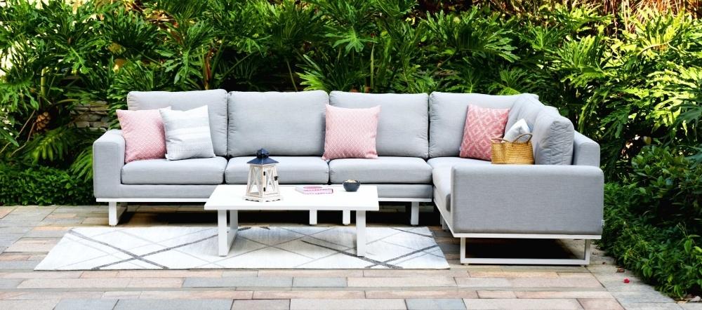 Maze Lounge Outdoor Ethos Lead Chine Fabric Large Corner Sofa Group