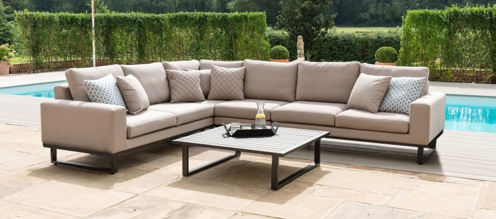 Maze Lounge Outdoor Ethos Taupe Fabric Corner Sofa Group