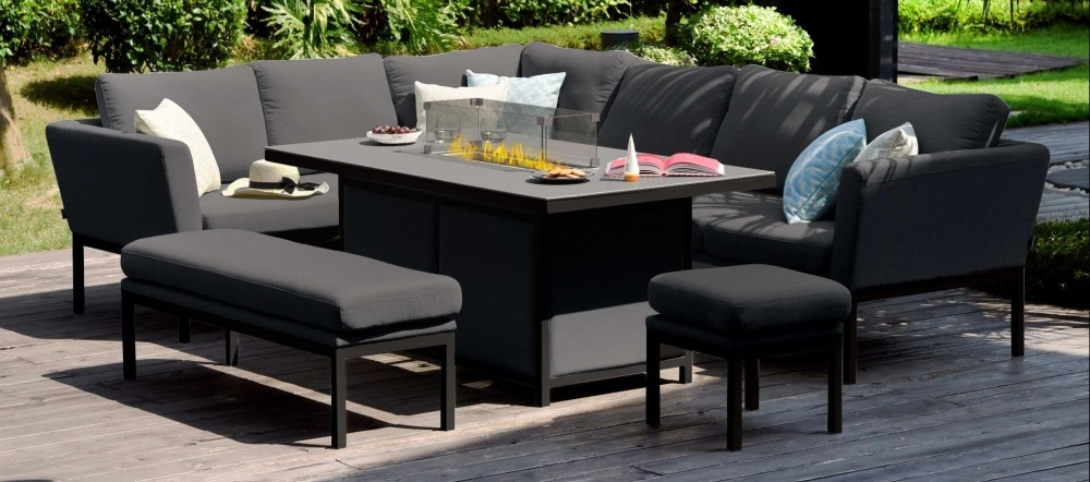 Maze Lounge Outdoor Pulse Charcoal Fabric Rectangular Corner Dining Set with Fire Pit Table