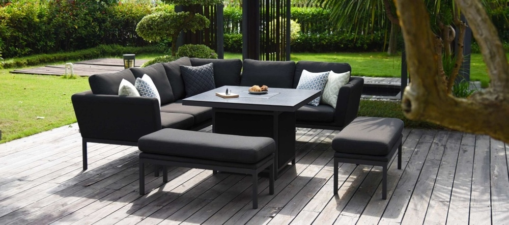 Maze Lounge Outdoor Pulse Charcoal Fabric Square Corner Dining Set with Rising Table