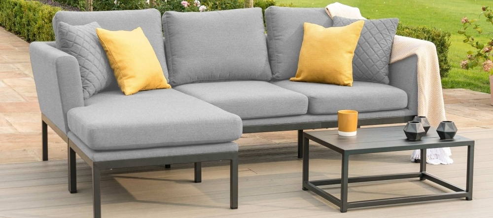 Maze Lounge Outdoor Pulse Flanelle Fabric Chaise Sofa Set