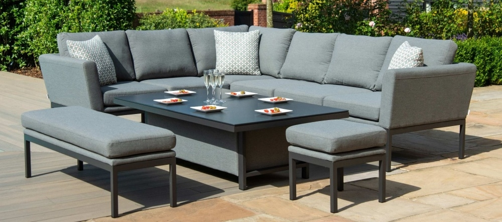 Maze Lounge Outdoor Pulse Flanelle Fabric Rectangular Corner Dining Set with Rising Table