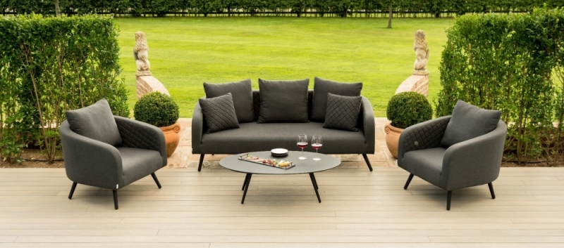 Maze Lounge Outdoor Ambition Charcoal Fabric 3 Seat Sofa Set
