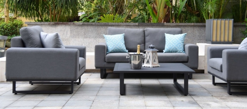 Maze Lounge Outdoor Ethos Flanelle Fabric 2 Seat Sofa Set with Coffee Table