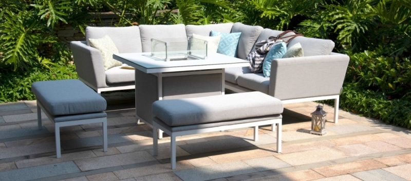 Maze Lounge Outdoor Pulse Lead Chine Fabric Square Corner Dining Set with Rising Table