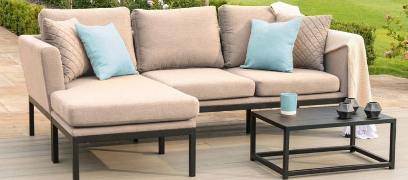 Maze Lounge Outdoor Pulse Taupe Fabric Chaise Sofa Set