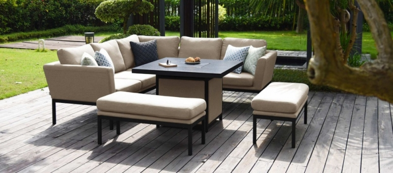 Maze Lounge Outdoor Pulse Taupe Fabric Square Corner Dining Set with Rising Table