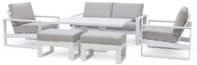 Maze Rattan Amalfi White 2 Seat Sofa Set with Rising Table