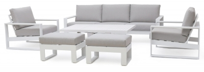 Maze Rattan Amalfi White 3 Seat Sofa Set with Rising Table