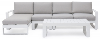 Maze Rattan Amalfi White Chaise Sofa Set