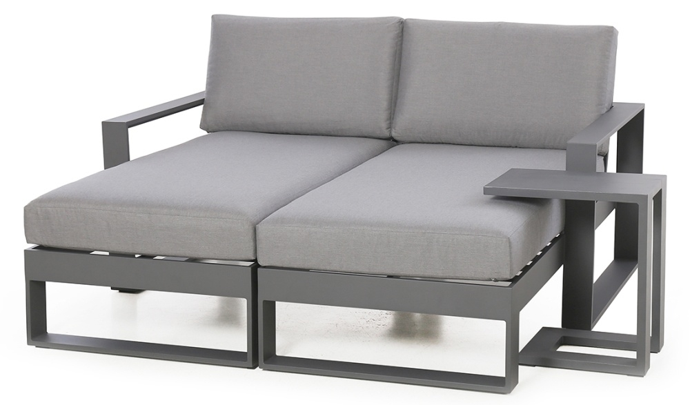 Maze Rattan Amalfi Grey Double Sunlounger with Side Table