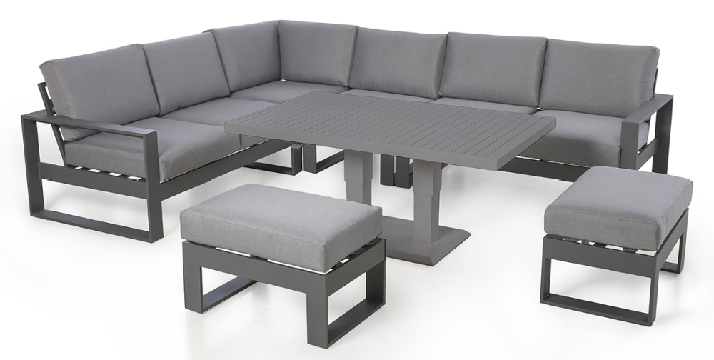 Maze Rattan Amalfi Grey Large Corner Dining Set with Rising Table and Footstools