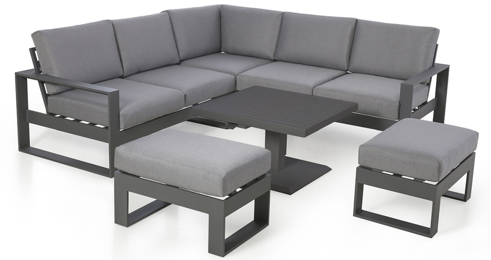 Maze Rattan Amalfi Grey Square Corner Dining Set with Rising Table and Footstools