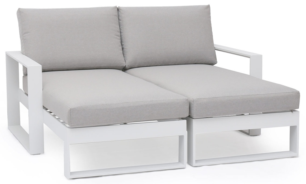 Maze Rattan Amalfi White Double Sunlounger with Side Table