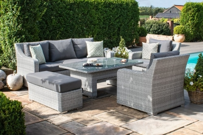 Maze Rattan Ascot 3 Seat Sofa Dining Set with Rising Table and Weatherproof Cushions
