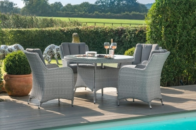 Maze Rattan Ascot 4 Seat Round Dining Set with Weatherproof Cushions