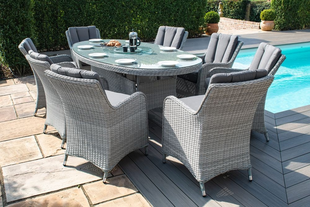 Maze Rattan Ascot 8 Seat Oval Dining Set with Lazy Susan and Weatherproof Cushions