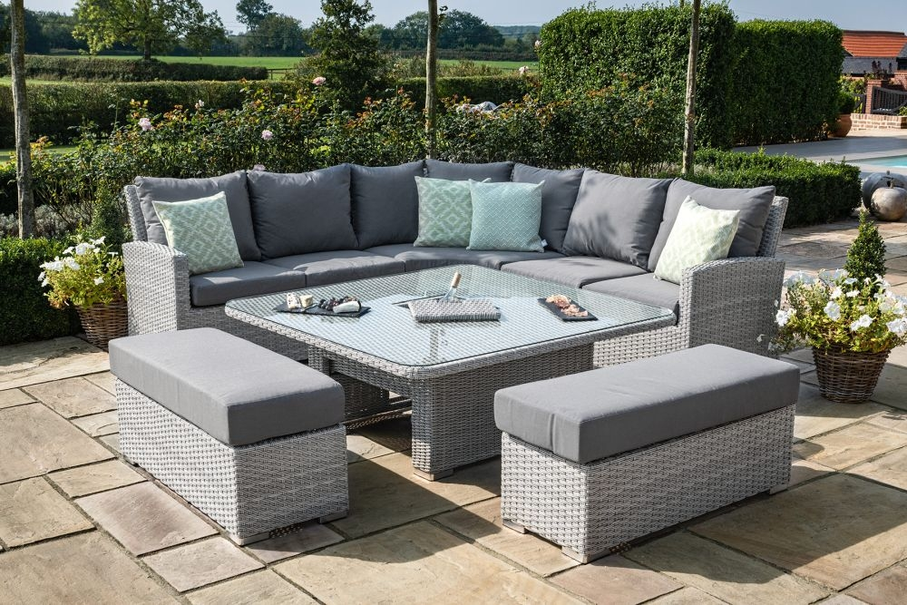 Maze Rattan Ascot Deluxe Corner Dining Set with Rising Table, Ice Bucket and Weatherproof Cushions