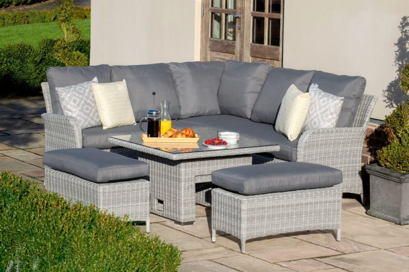 Maze Rattan Ascot Square Corner Dining Set with Rising Table and Weatherproof Cushions