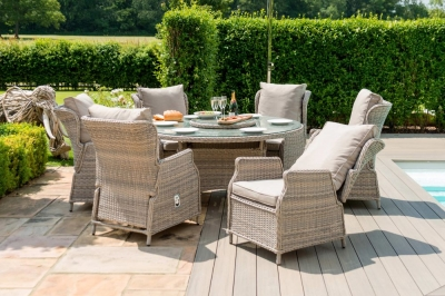 Maze Rattan Cotswold Reclining 6 Seat Round Dining Set with Rattan Lazy Susan