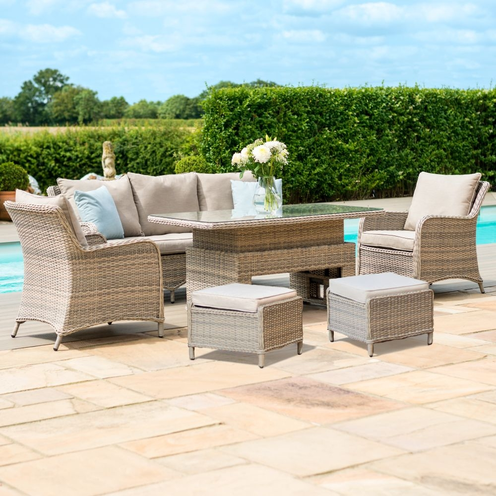 Maze Rattan Cotswold 3 Seat Sofa Dining Set with Rising Table and Footstools