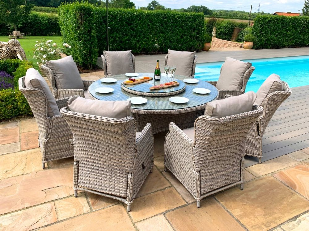 Maze Rattan Cotswold Reclining 8 Seat Round Dining Set with Rattan Lazy Susan