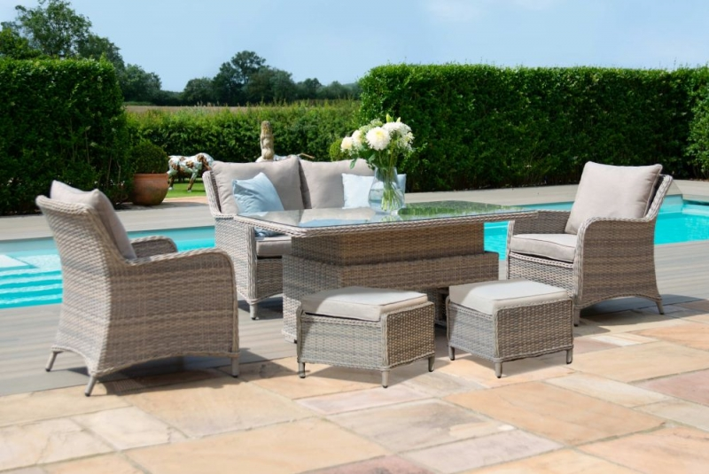 Maze Rattan Cotswold 2 Seat Sofa Dining Set with Rising Table and Footstools