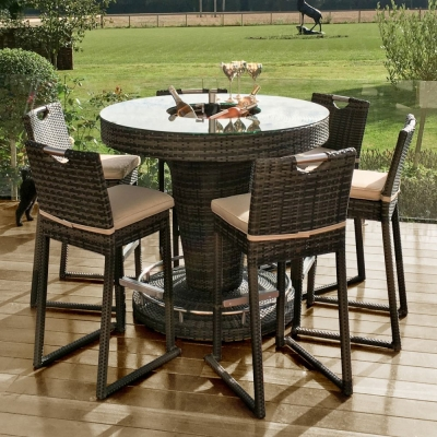 Maze Rattan Flat Weave Brown Round Bar Table with Ice Bucket and 6 Chairs