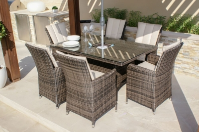 Maze Rattan Flat Weave LA Brown Dining Table with Ice Bucket and 6 Chair