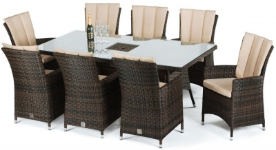 Maze Rattan Flat Weave LA Brown Dining Table with Ice Bucket and 8 Chair