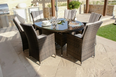 Maze Rattan Flat Weave LA Brown Oval Dining Table with Ice Bucket and 6 Chair