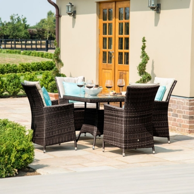 Maze Rattan Flat Weave LA Brown Square Dining Table and 4 Chair