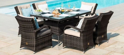 Maze Rattan Flat Weave Texas Brown Dining Table with Ice Bucket and 6 Chair