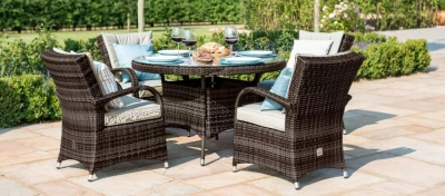 Maze Rattan Flat Weave Texas Brown Round Dining Table and 4 Chair