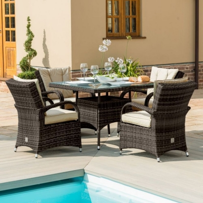 Maze Rattan Flat Weave Texas Brown Square Dining Table and 4 Chair