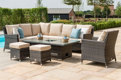 Maze Rattan Flat Weave Venice Brown Sofa Dining Set with Armchair