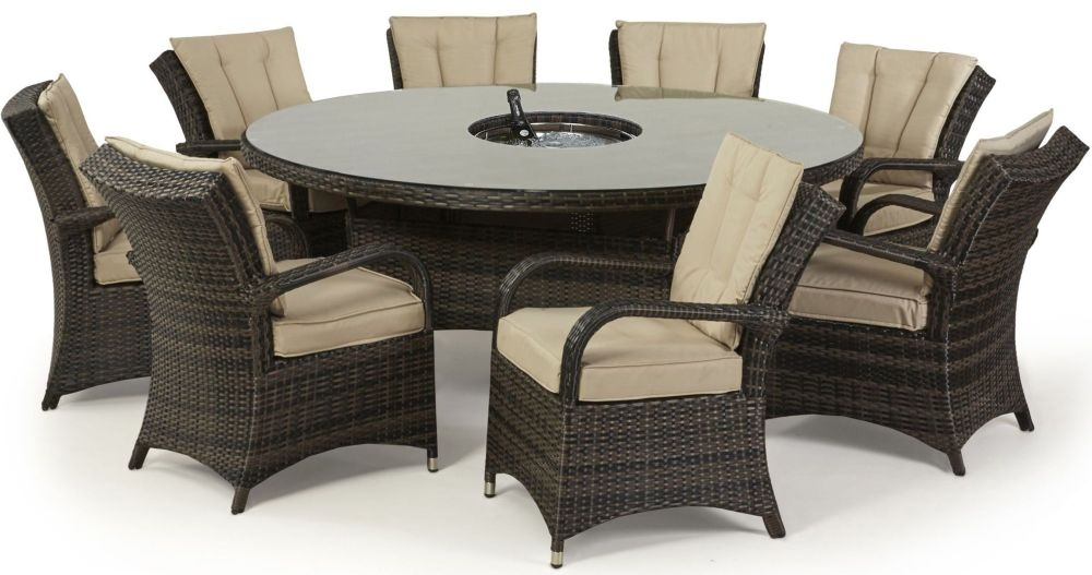 Maze Rattan Flat Weave Texas Brown Round Dining Table with Ice Bucket and 8 Chair