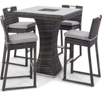 Maze Rattan Flat Weave Grey Bar Table with Ice Bucket and 4 Chairs
