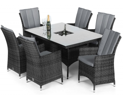Maze Rattan Flat Weave LA Grey Dining Table with Ice Bucket and 6 Chair