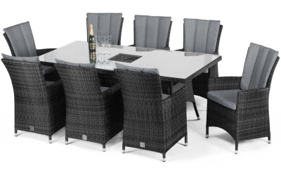 Maze Rattan Flat Weave LA Grey Dining Table with Ice Bucket and 8 Chair