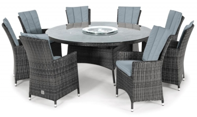 Maze Rattan Flat Weave LA Grey Round Dining Table with Ice Bucket and 8 Chair