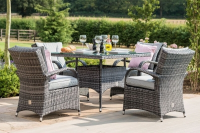 Maze Rattan Flat Weave Texas Grey Square Dining Table and 4 Chair