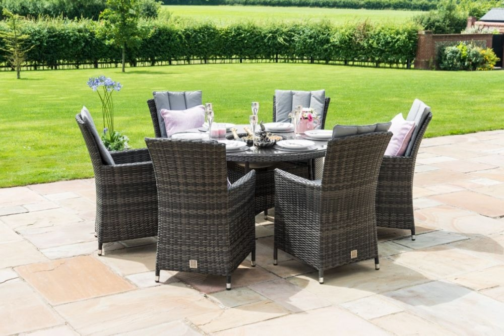 Maze Rattan Flat Weave LA Grey Oval Dining Table with Ice Bucket and 6 Chair