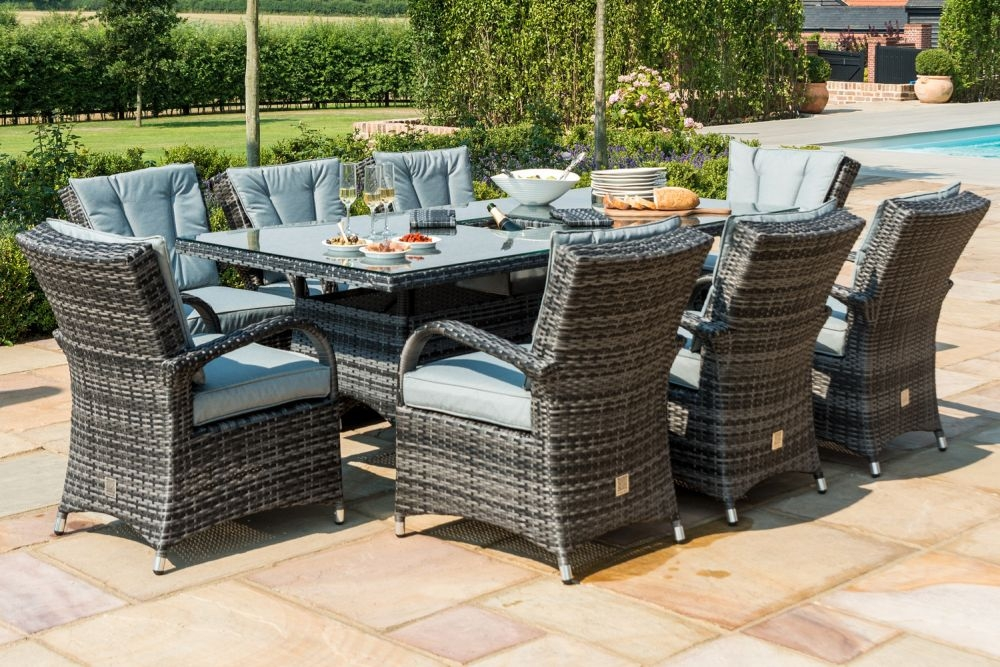 Maze Rattan Flat Weave Texas Grey Dining Table with Ice Bucket and 8 Chair