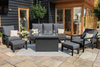 Maze Rattan Manhattan Reclining 3 Seat Sofa Set with Fire Pit Table and Footstools