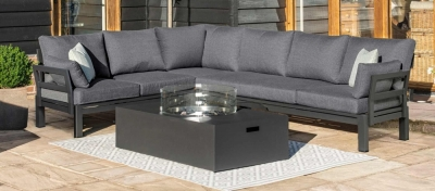 Maze Rattan Oslo Corner Group with Rectangular Gas Firepit Coffee Table