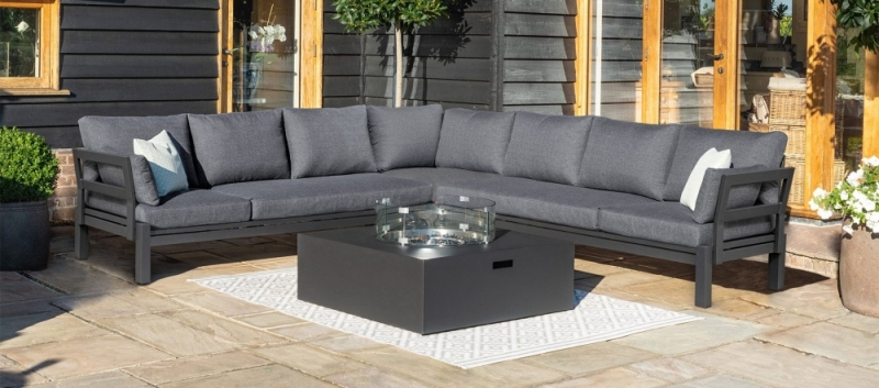 Maze Rattan Oslo Large Corner Group with Square Gas Firepit Table