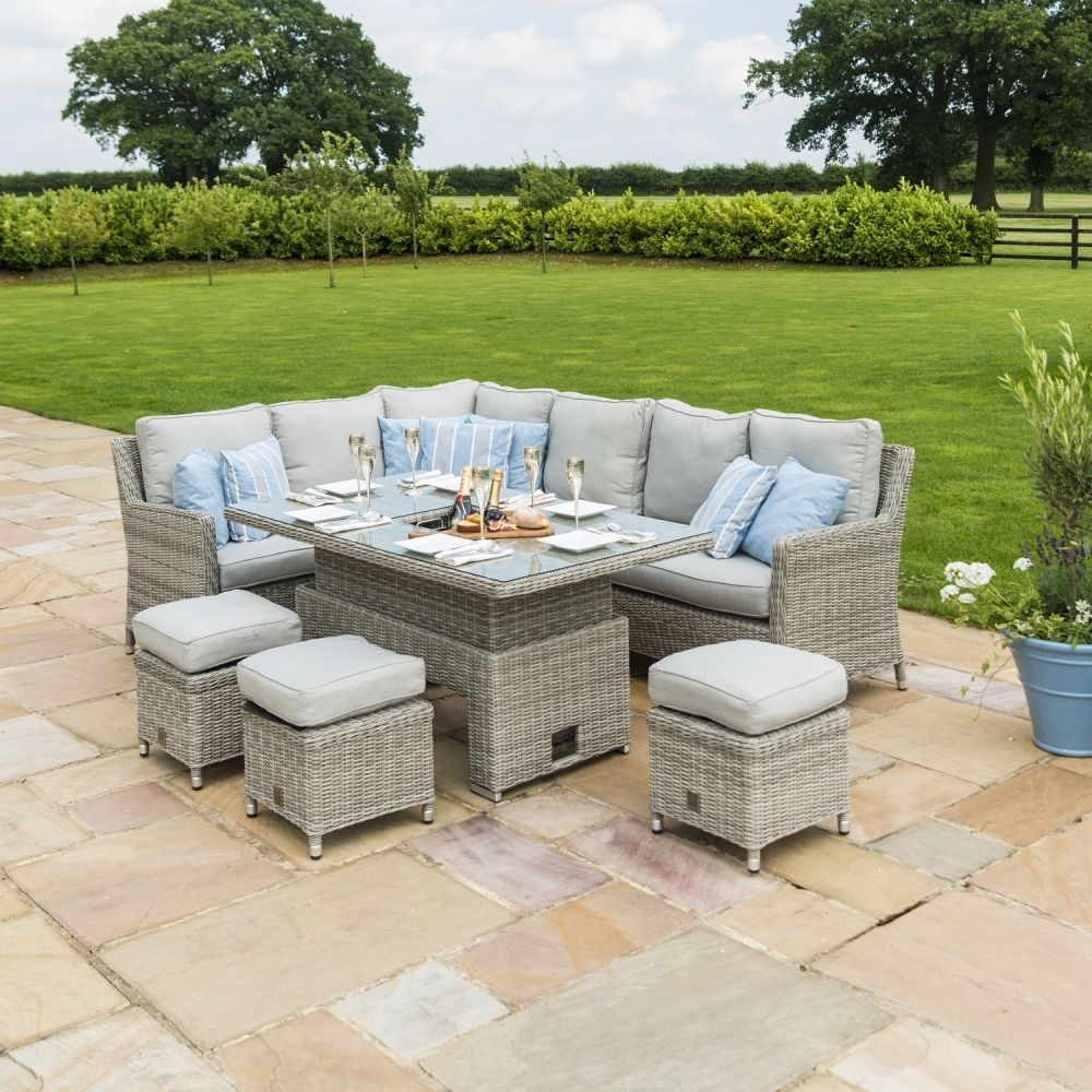 Maze Rattan Oxford Corner Dining Set with Ice Bucket and Rising Table
